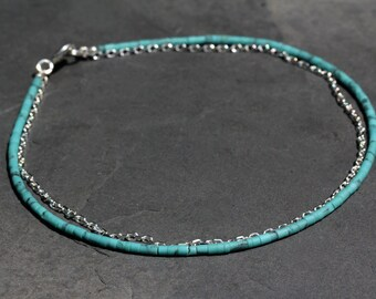 Turquoise silver chain anklet