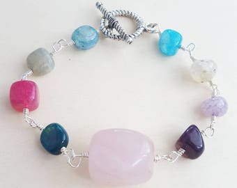 Colorful bracelet,  Glass beads bracelet, Pink rose  bracelet, Glass bracelet, Rainbow bracelet, Quartz bracelet, Beaded bracelet