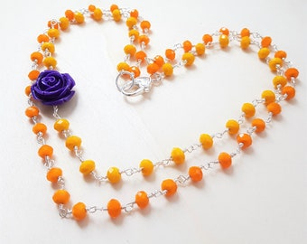 Colored necklace, Yellow necklace, Orange necklace, Flower necklace, Fancy necklace, Boho necklace, Spring necklace, Spring jewelry
