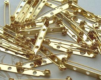 "20 Large Brooch Pin, Metal Pin Back, Gold Pin Back, 1.5"" Brooch pin back, Name Tag Pin, Jewelry Supply, 37mm pinback, brooch pinback, badge"
