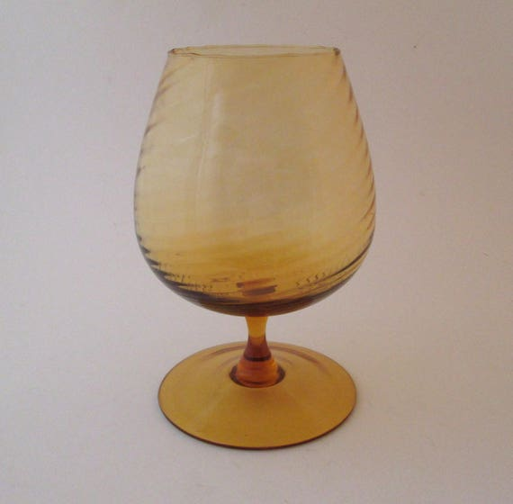 Large Brandy Glass Vintage Amber Glassware Hand Blown Etsy