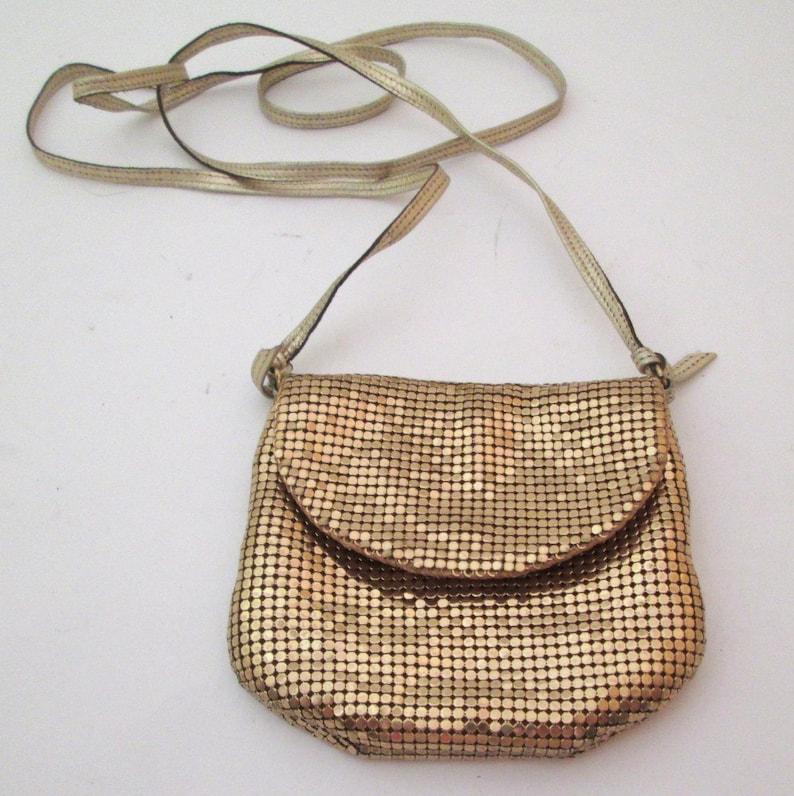 11310de5f9 Whiting and Davis Small Gold Bag Vintage Metallic Purse