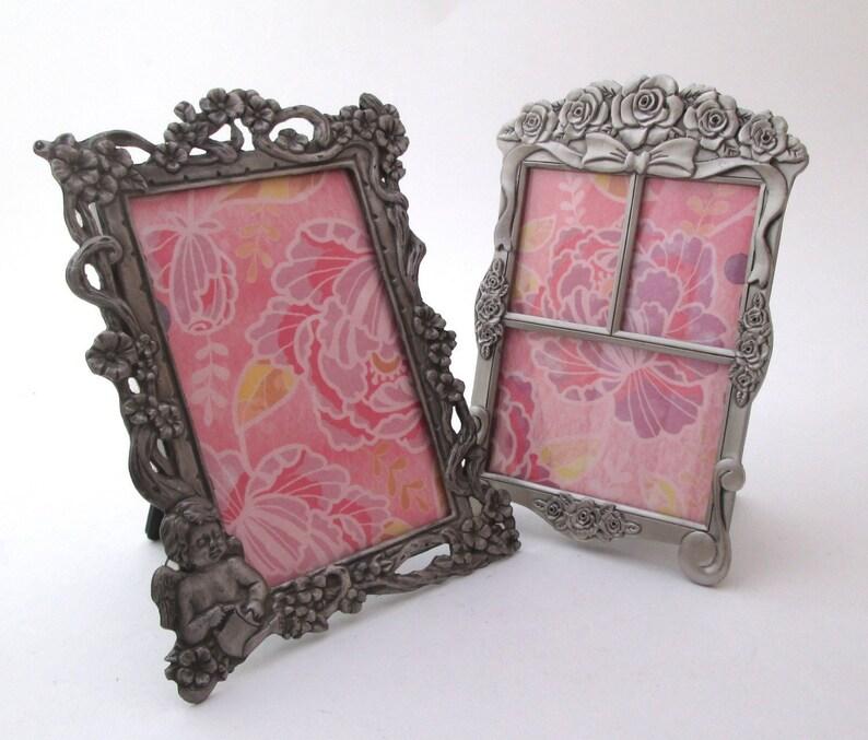 Vintage 3x4 frame set of 2 frames, flowers photo frame, Silver Frame Set,  small picture frames, boho decor, nursery decor, vanity frame