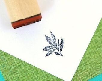 Blue Eden Leaf Rubber Stamp