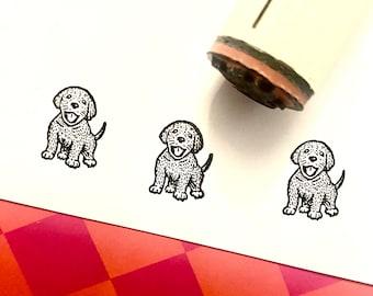 Happy Puppy Rubber Stamp