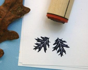 Black Oak Leaf  Rubber Stamp