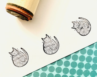 Cozy Cat Rubber Stamp