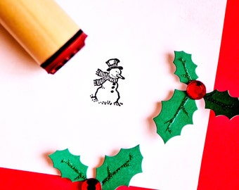 Happy Snowman Rubber Stamp