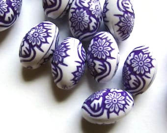 20 16mm Purple Beads Molded Plastic Beads Oval Beads Flower Beads Floral Beads Loose Beads Jewelry Making Beading Supplies Acrylic Beads