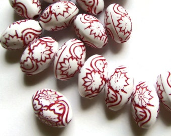 20 16mm Red Beads Molded Plastic Beads Oval Beads Flower Beads Floral Beads Loose Beads Jewelry Making Beading Supplies Acrylic Beads