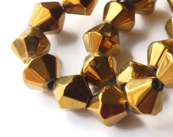 6mm Gold Bicone Beads Electroplated Glass Bicones Gold Look Beads Golden Glass Bicones 6mm Bicone Beads