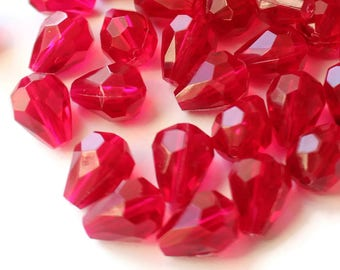 50 10x8mm Red Teardrop Beads Red Faceted  Beads New Old Stock Acrylic Beads Tear Drop Beads Red Plastic Beads Jewelry Supplies