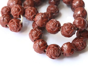 8X7MM  COGNAC TIGER EYE GEMSTONE CARVED ROSE FLOWER 8X7MM LOOSE BEADS 10 BEADS