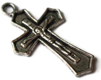 Crucifix pendant etsy 5 31x18mm antique silver cross charm zinc alloy crucifix pendant rosary making catholic charm christian charm jewelry making smileyboy aloadofball Choice Image