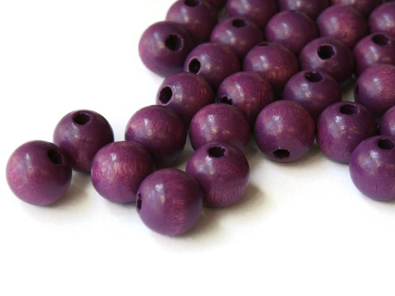 40 10mm Round Purple Wood Beads Wooden Macrame Beads Vintage New Old Stock Ball Beads Jewelry Making Beading Supplies Dark Purple Beads