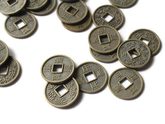 30 10mm Bronze Chinesische Münze Perlen Flache Runde Miniatur Etsy