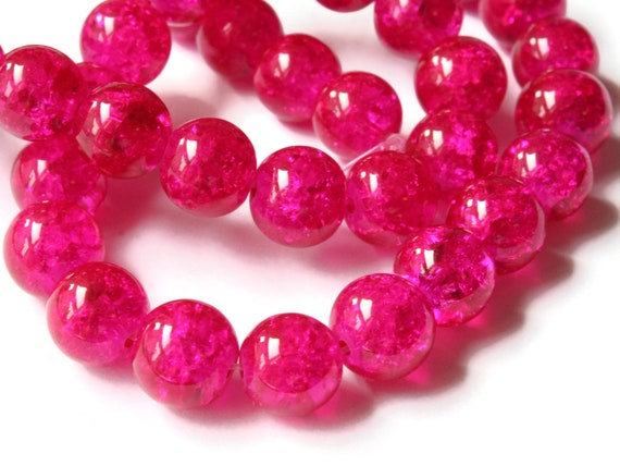 12 x Pink 14mm Crackle Glass Beads Jewellery Making Crafts