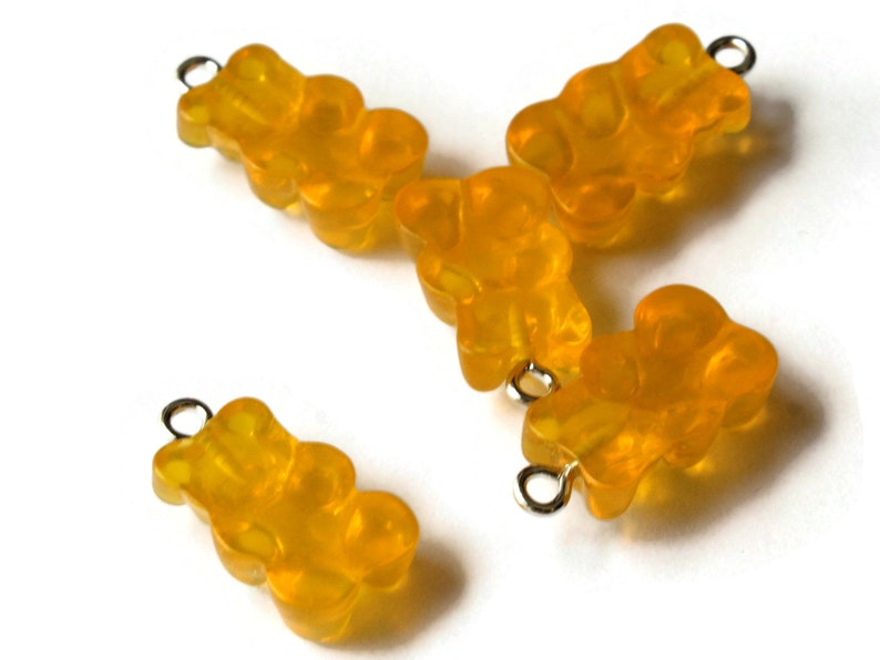 5 20mm Honey Yellow Gummy Bear Charms Resin Pendants with Platinum Colored Loops Jewelry Making Beading Supplies Loose Candy Charms