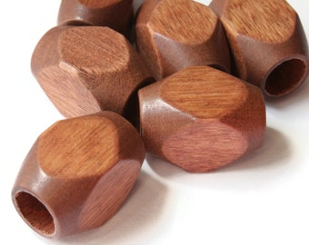 6 25mm Brown Large Hole Wood Beads Vintage Macrame Beads Wooden Beads Rectangle Beads Cube Beads Faceted Beads Jewelry Making