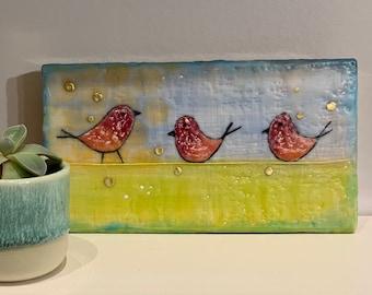 Three colorful, cheerful birds on a wire, Original Encaustic, 6 x 3 1/4
