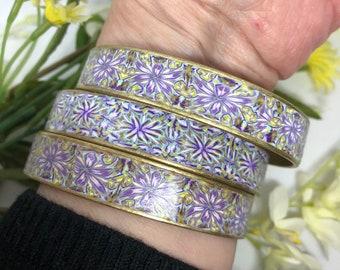 Mosaic Bangles, Purple Bangles, Floral Bangles, Set of 3 Bangles, Polymer Clay Bangles, Colorful Bangles, Set of 3 Bracelets