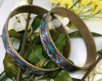 Purple, Blue and White Bangle Set, Set of 2 Brass Bangles, Polymer Clay Bangles