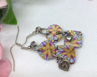 Colorful Dangle Earrings, Purple and yellow floral earrings, Heart earrings, Polymer clay earrings, lightweight earrings, Gift for her