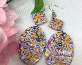 Long, floral, colorful, lightweight, dangle earrings with ear nuts, purple and yellow dangle earrings, polymer clay earrings