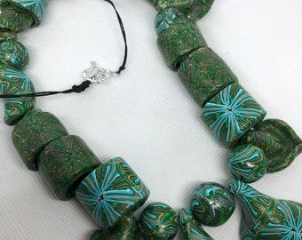 Fun, Funky, long green polymer clay bead necklace, unique necklace, funky green necklace