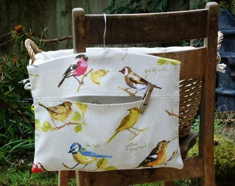 Peg Bag Clothespin Bag in British Garden Birds Cotton Fabric With Wooden Hanger