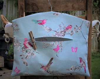 Clothespin Bag, Peg Bag in Blossom and Birds Print Fabric