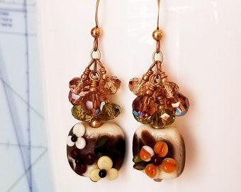 Golden Garnet Sunset Lampwork and Crystal Earrings - Golden Earrings - Golden Flower Earrings - Happy Shack Designs