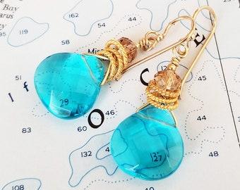 Golden Aqua Jewels Earrings - Gold and Aqua Briolette Earrings - Gold and Aqua Crystal Earrings - Gold and Blue - Happy Shack Designs