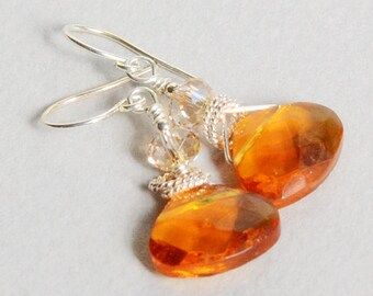 Topaz Briolette Earrings - Topaz Crystal Earrings - November Birthstone - Sterling Silver Earrings