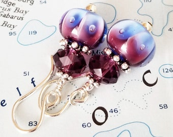 Lampwork Crystal and Sterling Earrings - Royal Jewels - Purple and Blue Earrings - One of a Kind - Happy Shack Designs