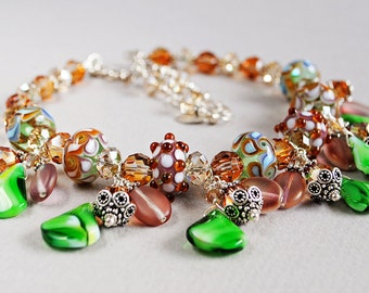 Juliet Lampwork and Crystal Statement Necklace - Statement Necklace - Lampwork Necklace - Fairytale Necklace - Happy Shack Designs