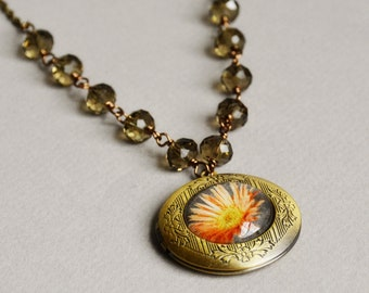 Photo Locket - Locket Necklace - Beaded Locket - Coming Up Daisies Photo Locket Necklace by Happy Shack Designs