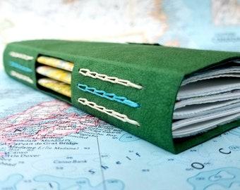 Green Handmade Journal - Handmade Kraft-tex Journal - Handmade Chain Stitch Journal - Handmade Pocket Journal