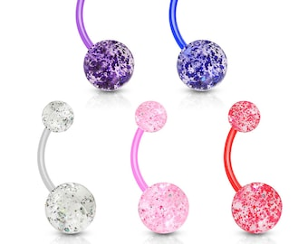 Ultra Glitter Belly Button Rings,  Set of 5 - navel ring, bioflex 14g body jewelry
