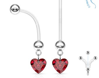 Red Crystal Heart Dangle Pregnancy Belly Button Ring