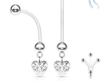 Clear Crystal Heart Dangle Pregnancy Belly Button Ring