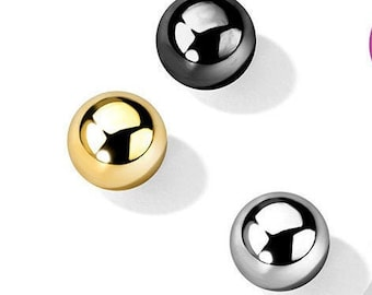 Set of 14g, belly button ring replacement balls - black, gold, silver, navel ring balls, body jewelry parts