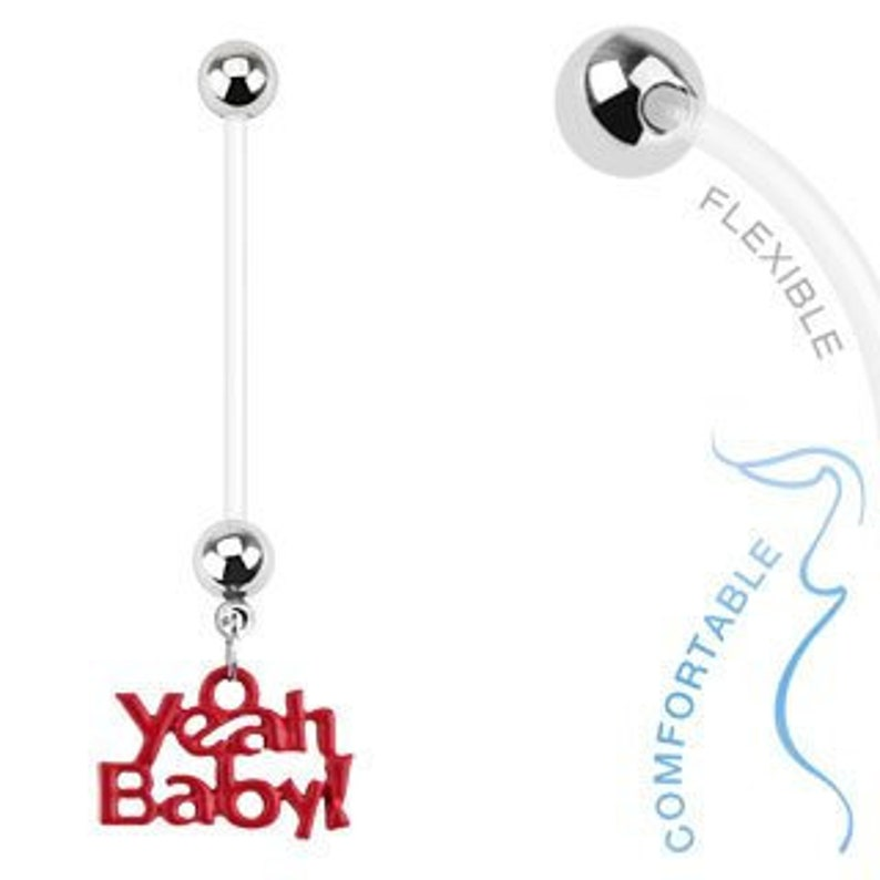 HALF PRICE Pregnancy Belly Button Ring  Yeah Baby image 0