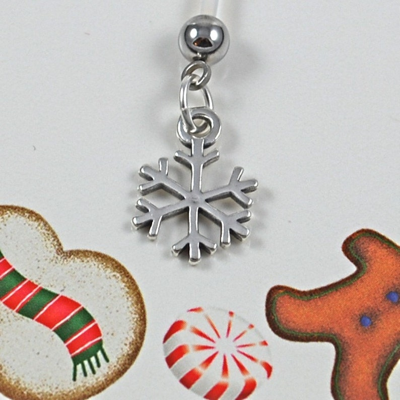 Snowflake Charm Maternity Belly Button Ring image 0
