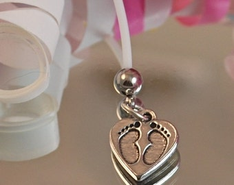 Heart with Baby Footprints, Flexible Maternity Belly Button Ring - Pewter Charm