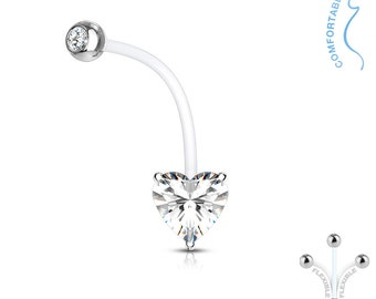 Clear Crystal, Double Jeweled Heart Pregnancy Belly Button Ring, Maternity Navel Ring