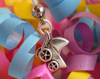 Sterling Silver Stroller Pregnancy / Maternity Belly Button Ring