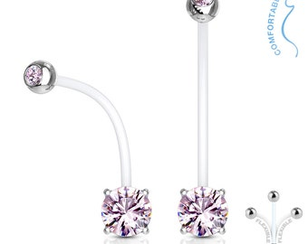 Pink Crystal, Double Jeweled Pregnancy Belly Button Ring, Maternity Navel Ring