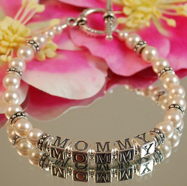 Swarovski Pearl and Antique Silver MOMMY Bracelet  Mothers image 0