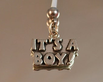 ITS A BOY Charm Pregnancy Belly Button Ring